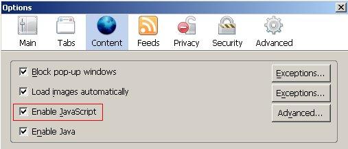 Firefox启用javascript第二步