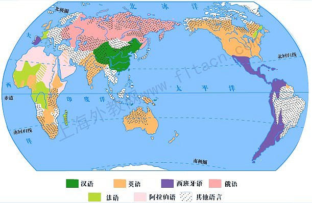 世界主要语言分布图